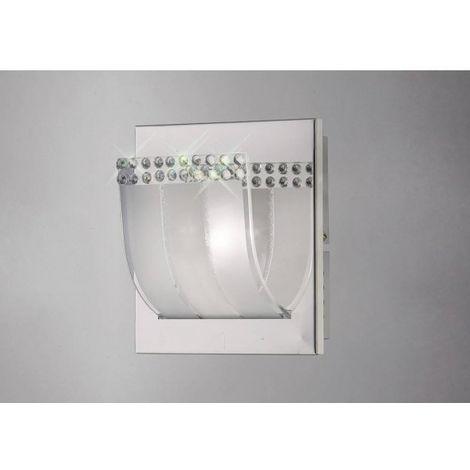 Applique murale Charis avec interrupteur 1 Ampoule chrome poli/verre/cristal