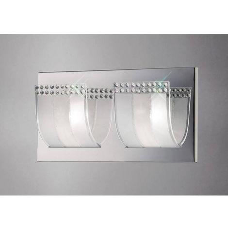 Applique murale Charis avec interrupteur 2 Ampoules chrome poli/verre/cristal