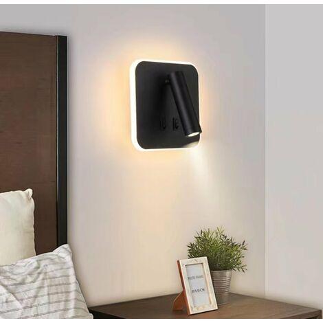 Applique murale de chevet à LED nouvelle lampe murale de fond de salon d'escalier de couloir d'hôtel d'ingénierie chinoise, (projecteur rotatif carré noir lumière blanche chaude G)