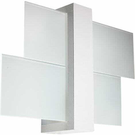 Applique murale en bois Applique en verre satiné Applique à l'intérieur en bois blanc Applique couloir, 1x E27, LxH 43x30 cm