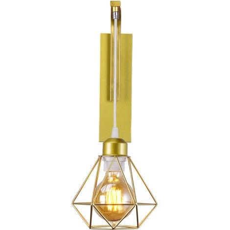 Applique murale en fer bois  , Créative Lustre suspension rétro cage en forme diamant moderne salon chambre cuisine noir