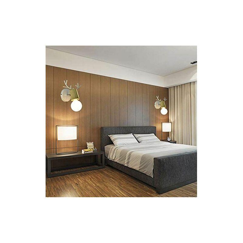 Applique Murale en Fer Bois, Moderne Lampe de Mur Simple E27 40W pour  Chambre, Salon, Restaurant,Cuisine,Couloir, Blanc