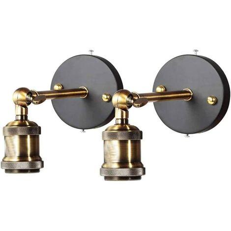 Applique murale en laiton, Rétro murale Lumière ronde rustique rétro lampe pendante E27 (ampoule non incluse) (2-Pack)