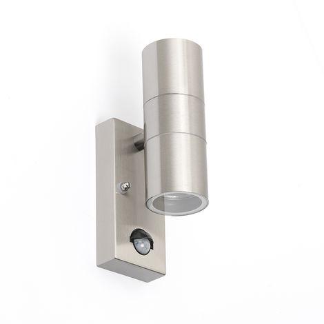 Applique murale extérieure en acier IP44 avec détecteur de mouvement - Duo Qazqa Moderne Luminaire exterieur IP44 Rond