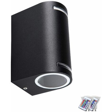 Applique murale extérieure Up Down projecteur dimmable lampe télécommande set incl. RGB LED lampes