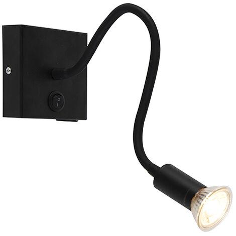 Applique murale flexible Moderne USB noir - Flex Qazqa Moderne Luminaire interieur