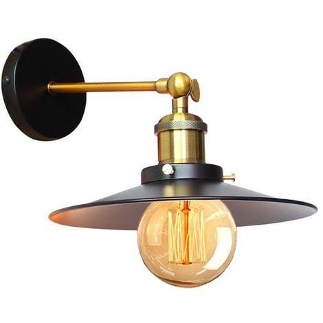Applique Murale Industrielle 22cm en Métal fer, Lampe Rétro Loft Éclairage Vintage Edison Douille E27 pour Décoration de Maison , Bar , Restaurants, Café, Club, Noir