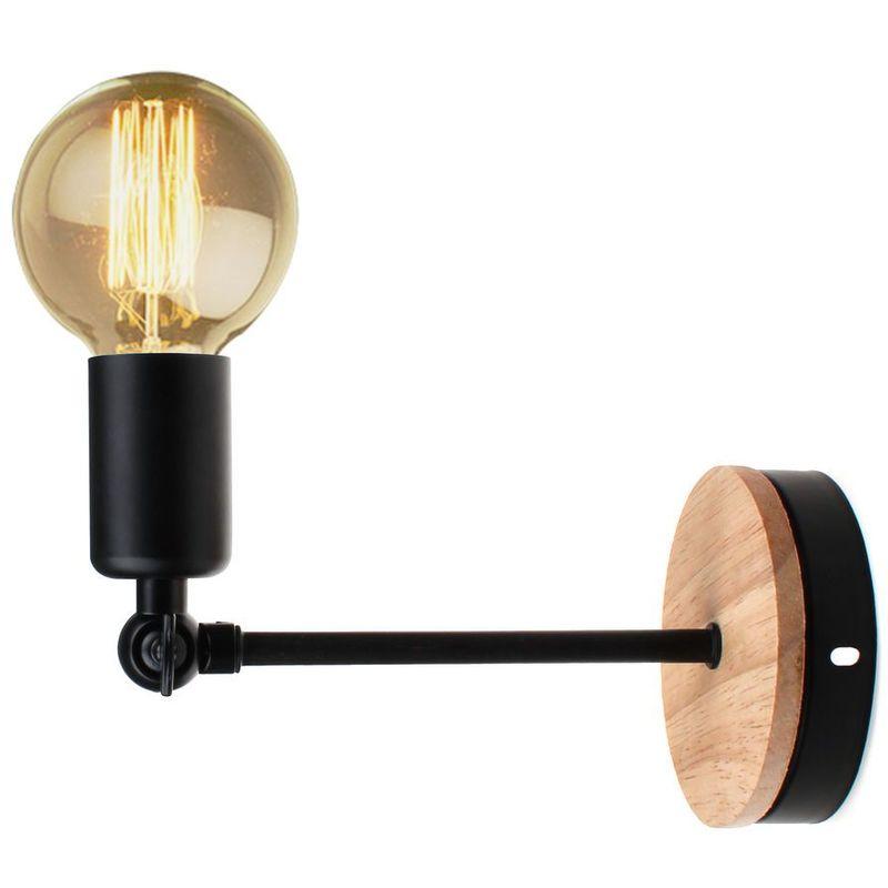 Applique Murale Industrielle En Fer Bois Retro Loft Lampe