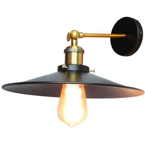 Applique Murale Industrielle en Métal fer 26cm , Lampe de Plafond Rétro Edison Douille Loft Éclairage Vintage E27 Noir