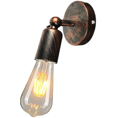 Applique Murale Industrielle en Métal fer , Lampe Rétro Edison Douille E27 Loft Éclairage Vintage pour pour Chambre, Salon, Restaurant, Couloir ( Rouille rouge )