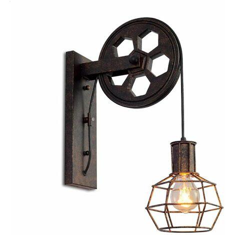 Applique Murale Industrielle, iDEGU Éclairage Mural Vintage Poulie Lampe de Mur Luminaire Intérieur pour Bar, Chambre à Coucher, Salon, Restaurant, Café, Couloir - Rouille