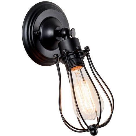 Applique Murale Industrielle Métal Fer E27 Noir Luminaire Vintage Retro pour Maison de Champagne Café Loft Cuisine Salon et chambre d'hôtel (LED ampoules non compris)
