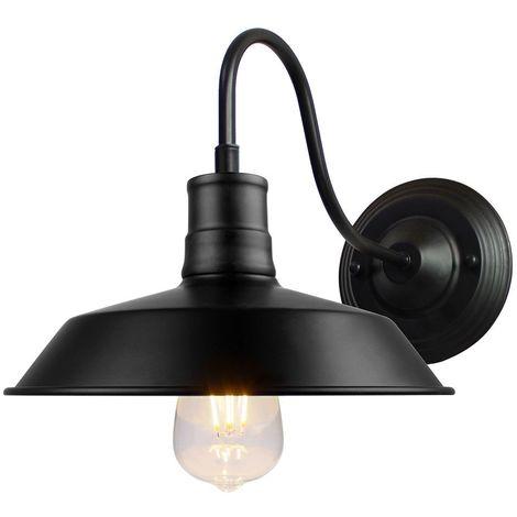 Applique Murale Industrielle Rustique Interieur Cage Ø27cm Lampe Suspension Vintage Luminaire pour Salon Cuisine Maison Café Loft Noir