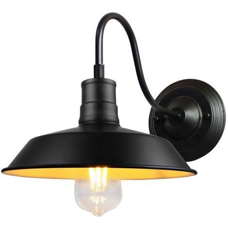 Applique Murale Industrielle Rustique Interieur Cage Ø27cm Noir Lampe Suspension Vintage Luminaire pour Salon Cuisine Maison Café Loft