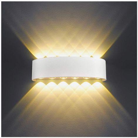 Applique Murale Interieur LED 12W Blanc en Aluminium, Lampe Murale Moderne Up Down Spot Lampe pour Salon Chambre Hall Escalier Pathway (Blanc Chaud)