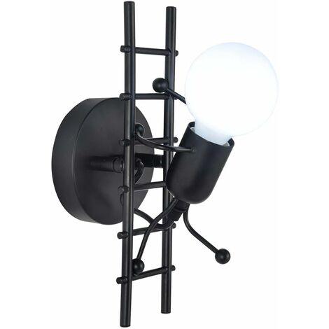 Applique Murale Interieur Petit Gens Fer, Moderne Lampe de mur Industrielle, Lampe Murale de Style Simple pour le Salon Couloir Chambre à Coucher, 220V, E27 Ampoule Non incluse (Noir)