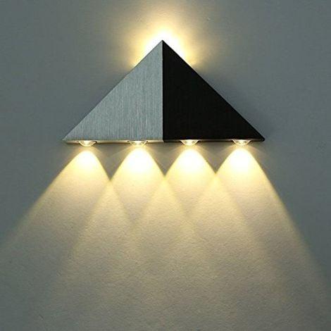 Applique Murale LED 5W Interieur Triangle Lampe Design Original Moderne Eclairage Décoratif en Aluminium Luminaire pour Chambre Couloir Salon - Blanc Chaud