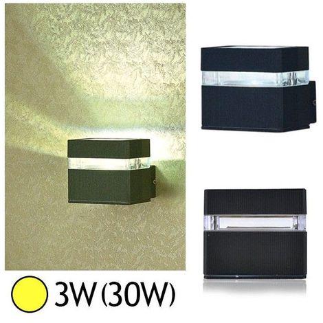 Applique murale LED COB 3W(30W) IP54 Blanc chaud Demi carré