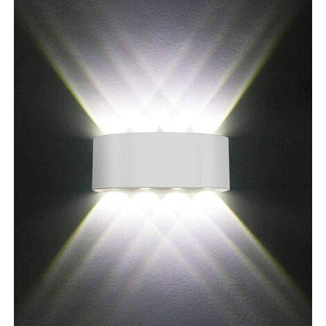 Applique Murale LED Interieur Aluminium Moderne 8W , Blanc Lampe Murale LED  pour Chambre Maison Couloir Salon (Blanc Chaud)