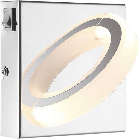 Applique murale LED salon éclairage spot anneau de lampe chromé satiné Globo 67062-1