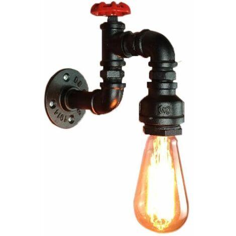 """main image of """"Applique Murale Loft Industriel Tuyau Tube D'eau Rétro en Fer Noir Lustre Lampe Lumières pour Salon Chambre Restaurant"""""""