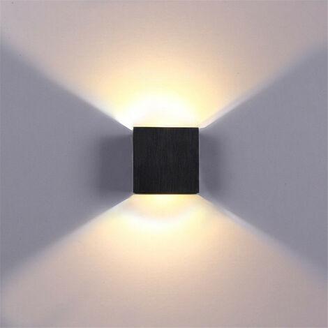 Applique murale moderne à LED de 6 W vers le bas, applique murale spot, luminaire de chambre à coucher (noir)