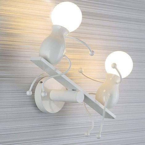 Applique Murale Moderne Lampe Murale Créatif Simplicité Design Douille E27 pour Chambre d'enfant Couloir Décoratives Eclairage,Blanc