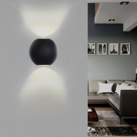 Applique Murale Noire Design LED Double Faisceaux IP54 6W - Blanc Neutre 4000K - 5500K