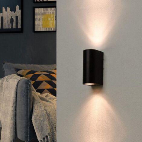 Applique Murale Noire LED IP44 double faisceau GU10