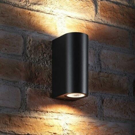 Applique Murale Noire LED IP44 Double Faisceau GU10 Arrondie - SILAMP