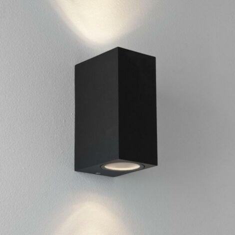 Applique Murale Noire LED IP44 double faisceau GU10 Carrée - SILAMP