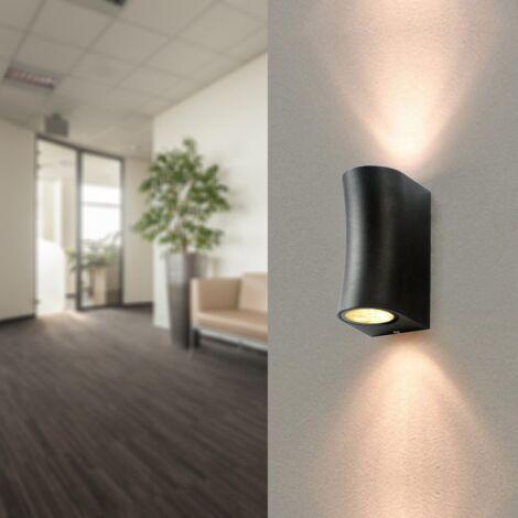 Applique Murale Noire LED IP44 pour 2 ampoules GU10