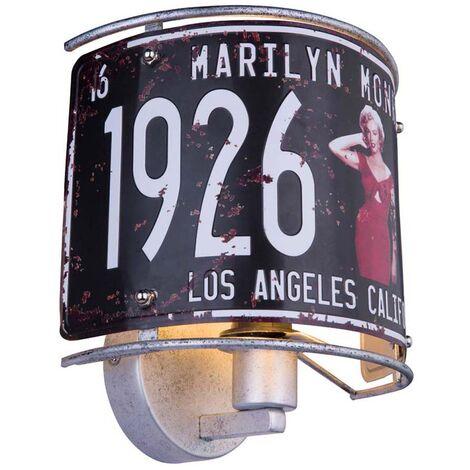 """main image of """"Applique murale RETRO salon plaque tôle USA lampe déco Monroe dans un set comprenant des ampoules LED"""""""