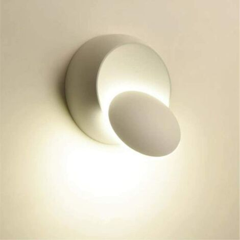 Applique Murale Rotative à 360 Degrés Lampes Chevet Lampes Murale Créatives pour Couloir Escalier Salon Salle Coucher (Blanc)