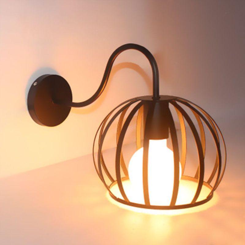 Applique Murale Vintage Industriel Cage Pastèque en Métal Plafonnier  Luminaire Rétro Lampe Intérieure Décoration pour Salon Cuisine Couloir ...
