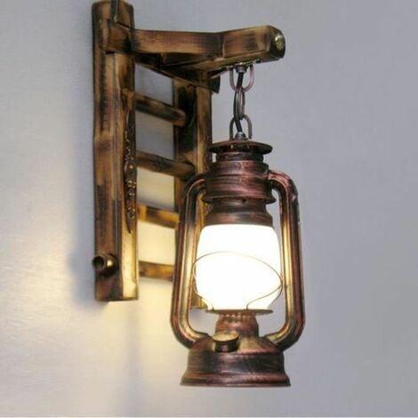 Applique Murale Vintage Lampe Industrielle Fer Metal Bambou Lampe Extérieur  Mur De Feu éclairage