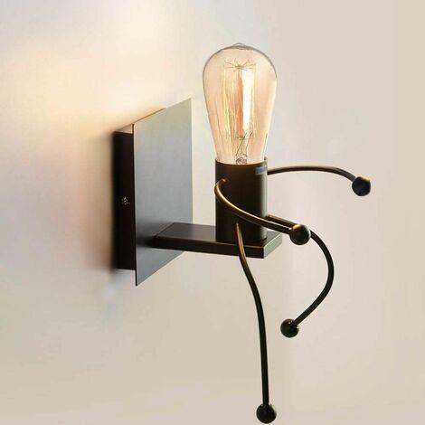 Applique Murales Lumière industrielle Créatif Lampes Intérieur rétro Iron Art déco E27 Base pour Bar, Chambre à Coucher, Cuisine, Restaurant, Café, Couloir,Noir