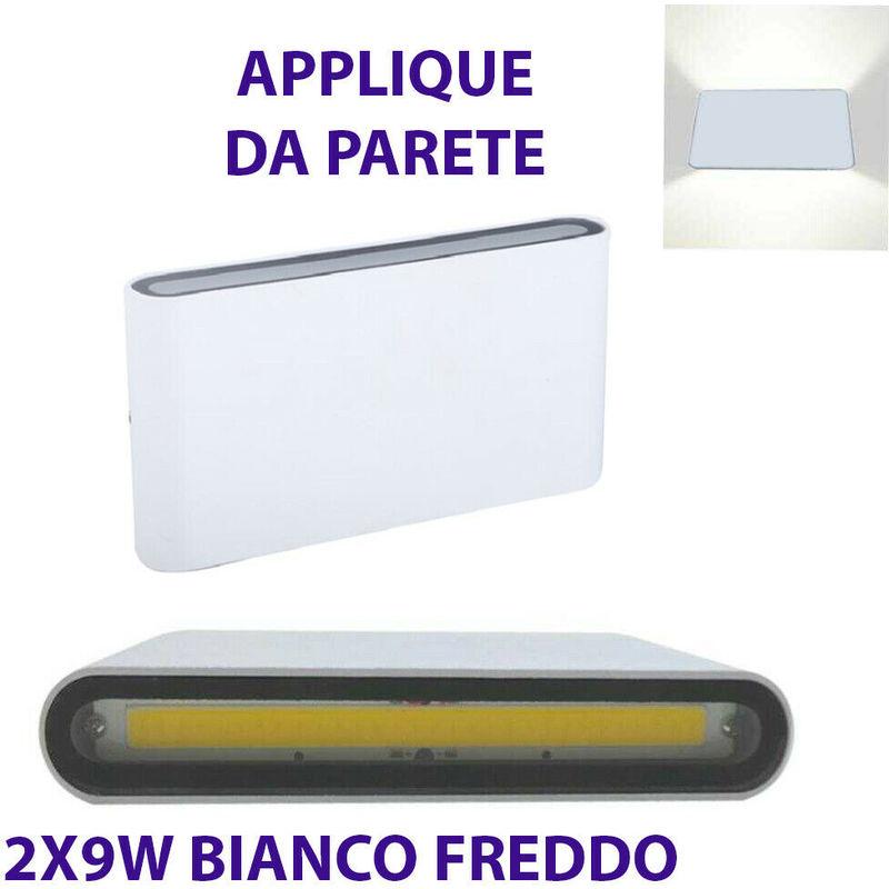 Applique parete doppio fascio led cob 9w faretto esterno bianco freddo 6000k - DRIWEI
