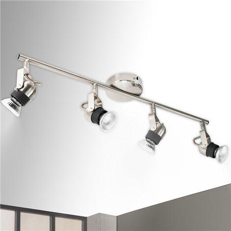 Applique Plafonnier rampe éclairage 4 spots orientables argent