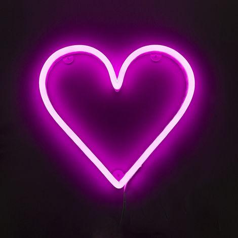 Applique rose avec télécommande avec LED - Coeur néon Qazqa Design Luminaire avec variateur interieur