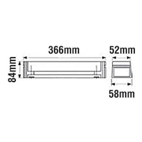 Applique salle de bain linolite avec diffuseur opalisé + interrupteur avec tube S19 13w fluo version simple long 366mm