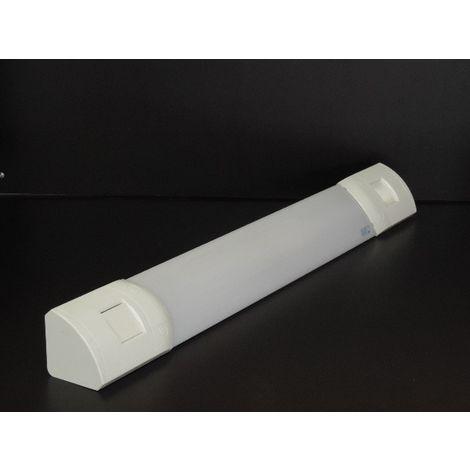 Applique SDB fluo 24W bandeau 860mm avec inter prise rasoir 20A 230V et lampe G5 4000K 1750lm IK07 IP41 PRELIUM SARLAM 103760