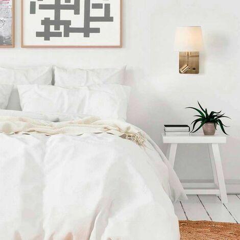 Applique tête de lit Laiton lampe et liseuse ROOM2 avec port USB abat-jour crème - Doré