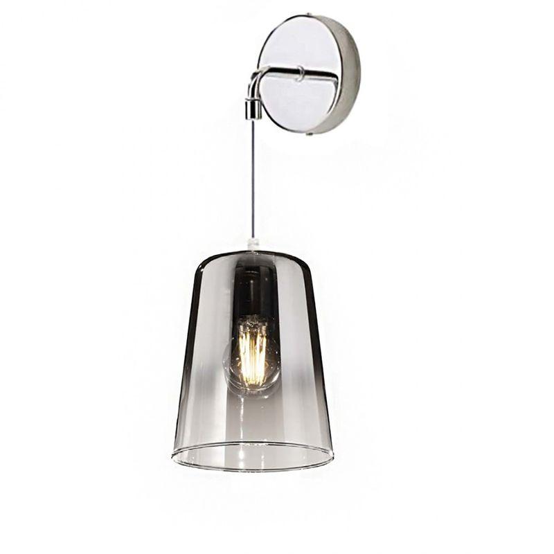 Applique shaded 1164 a e27 led vetro pirex colorato lampada parete moderna classica interno, colore cromo - Top Light