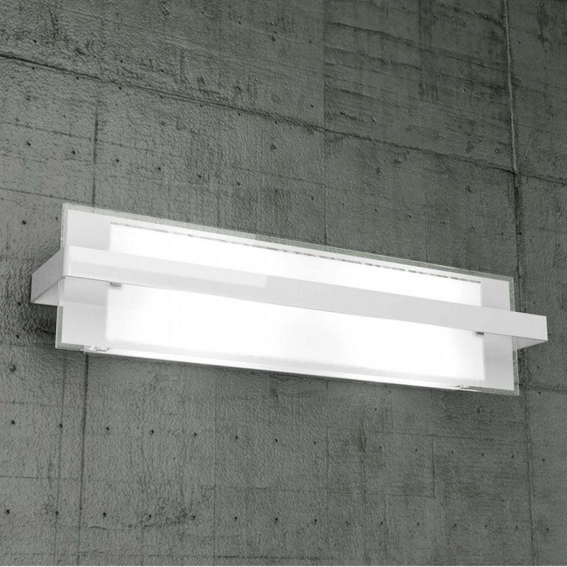 Applique tp-cross 1106 ag e27 60w moderna lampada parete vetro metallo, finitura metallo cromo lucido