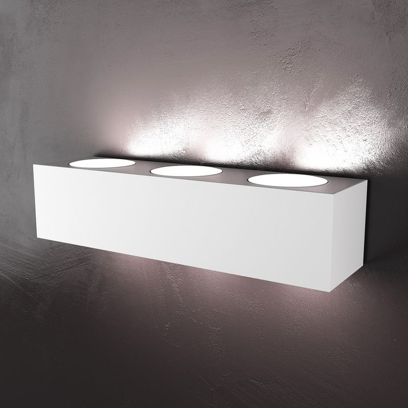 Applique tp-eccentric 1156 a6 35.3cm gx53 led metallo verniciato biemissione lampada parete rettangolare moderna interno, finitura metallo bianco