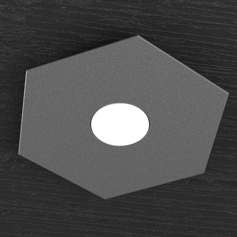 Applique tp-hexagon 1142 1l gx53 led metallo esagonale lampada parete soffitto moderna interno, finitura metallo grigio-antracite