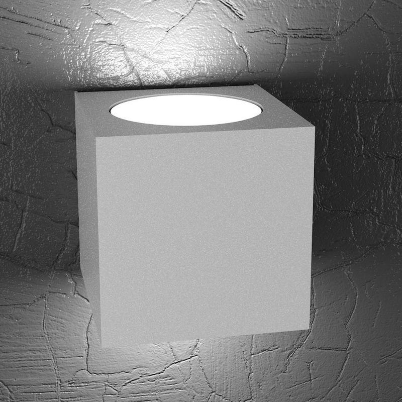 Applique tp-plate 1129 ag 18w gx53 led 10x10 cubo metallo bianco biemissione lampada parete moderna quadrata, finitura metallo grigio