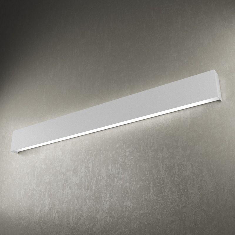 Applique tp-wally 1138 a 120cm 2g11 led metallo biemissione lampada parete fascia moderna interno, finitura metallo grigio