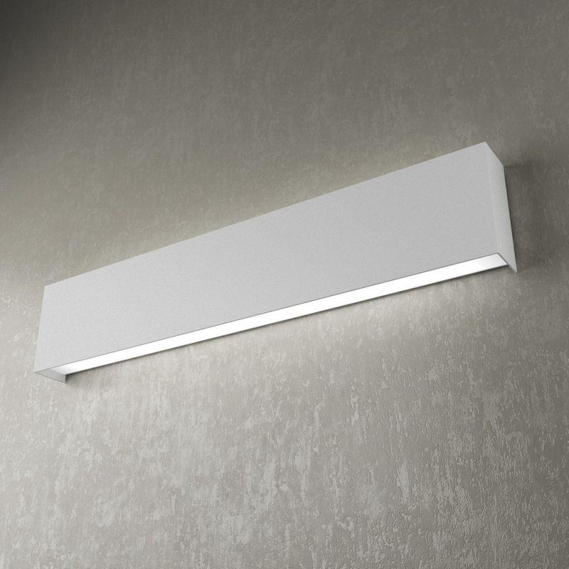Applique tp-wally 1138 a 60cm 2g11 led metallo biemissione lampada parete fascia moderna interno, finitura metallo nero